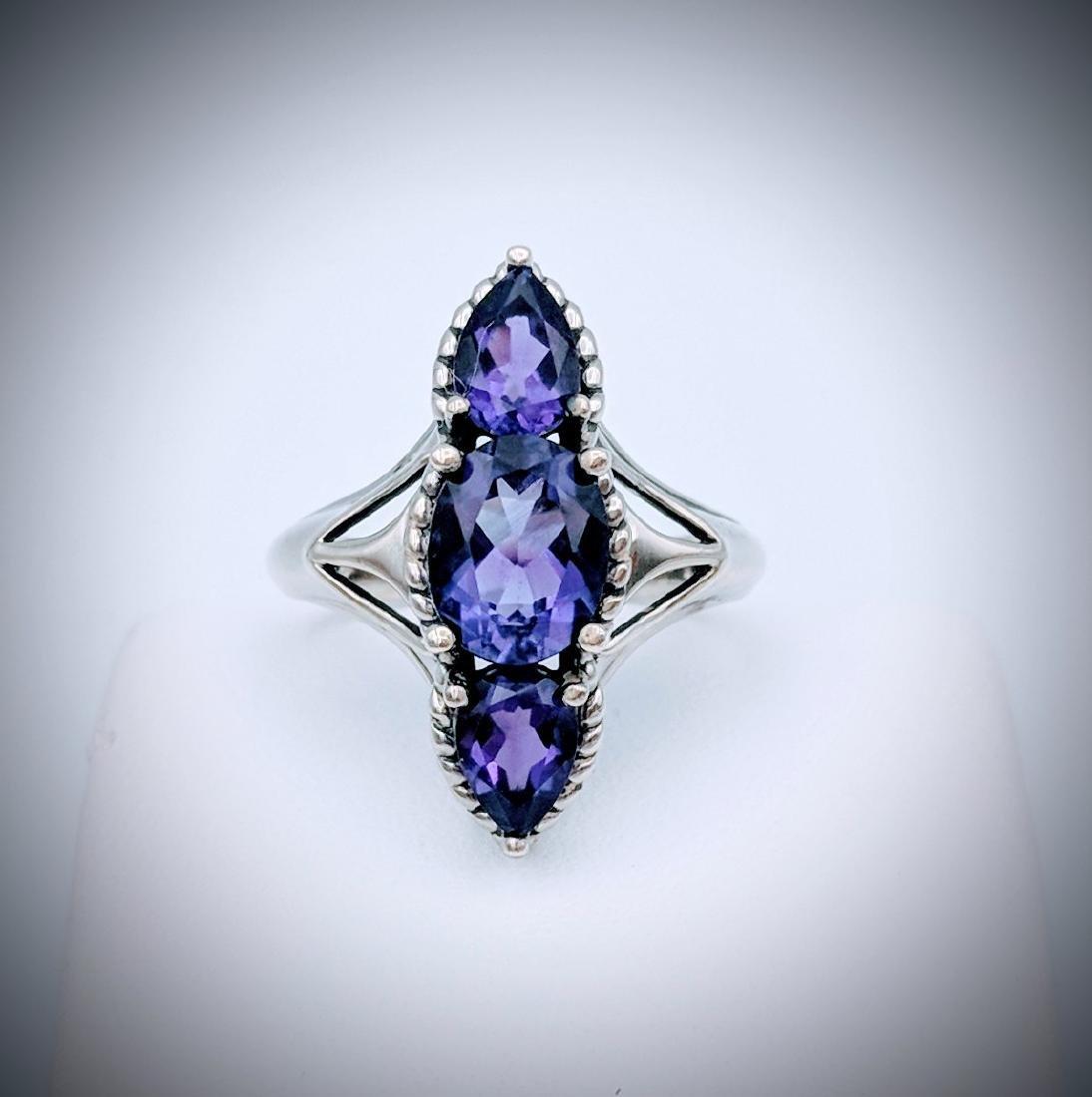 Sterling Silver Deep Purple Amethysts Ring