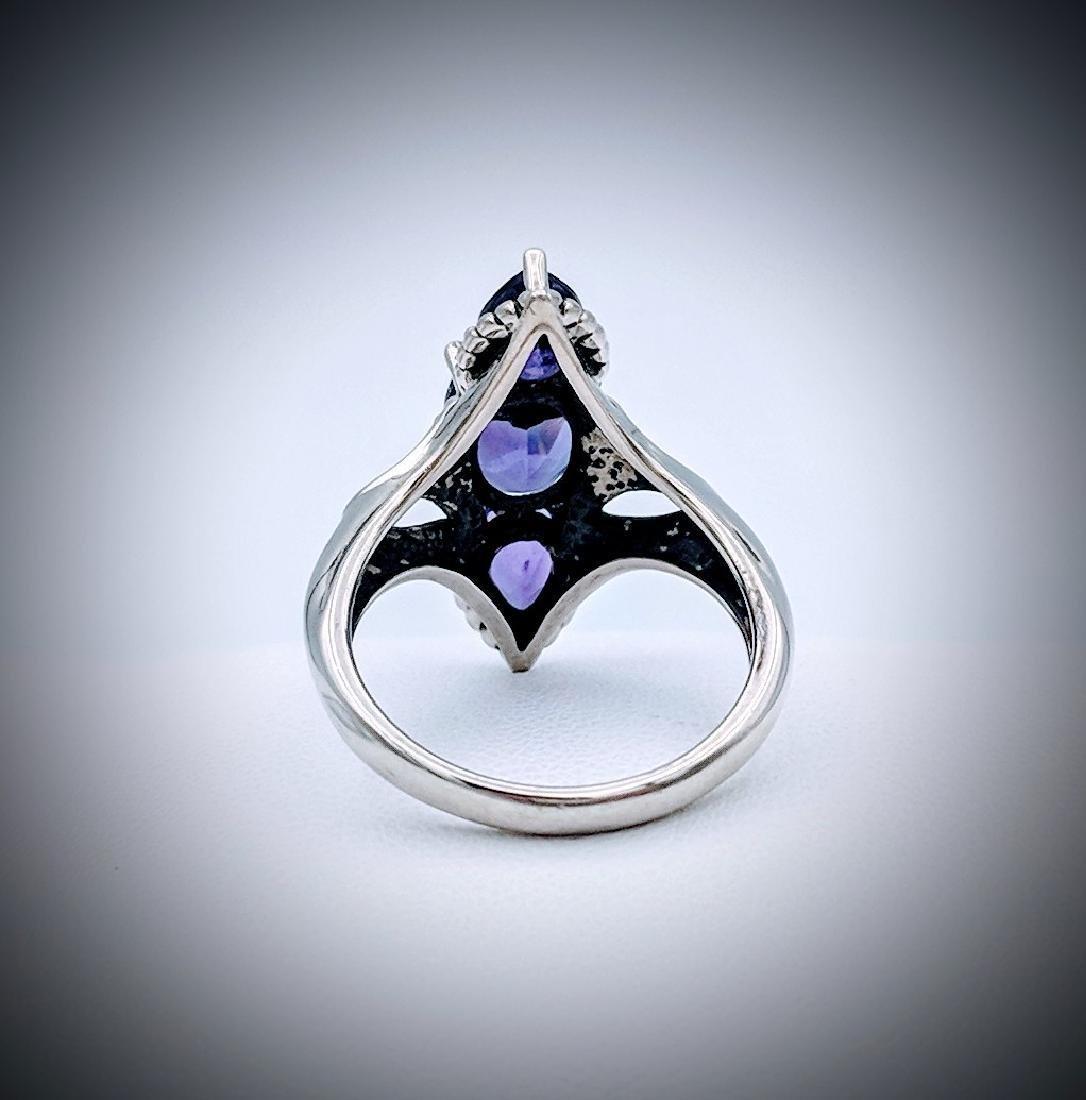 Sterling Silver Deep Purple Amethysts Ring - 2