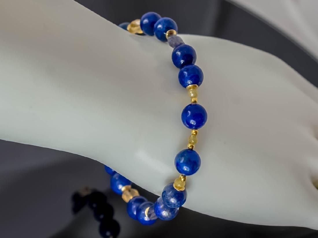 Lapis lazuli bracelet with yellow Songea sapphires