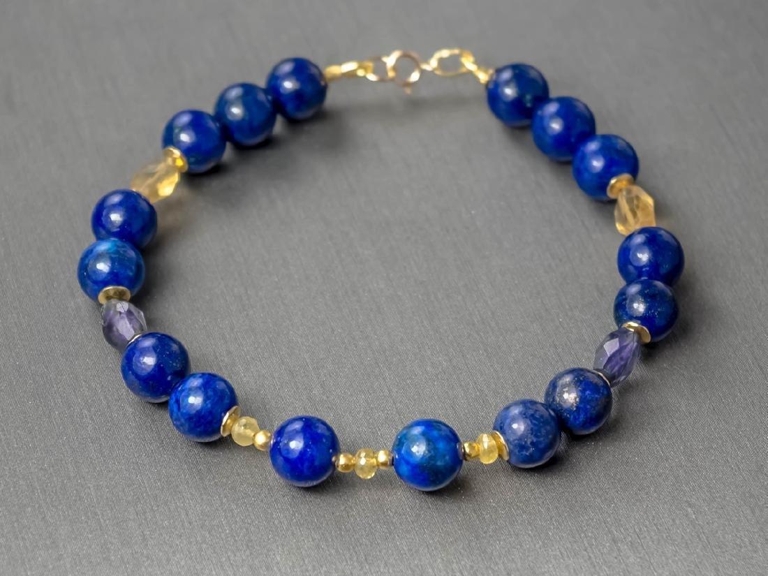 Lapis lazuli bracelet with yellow Songea sapphires - 2
