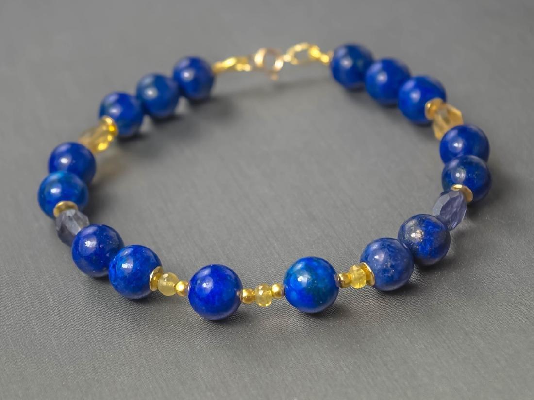 Lapis lazuli bracelet with yellow Songea sapphires - 4
