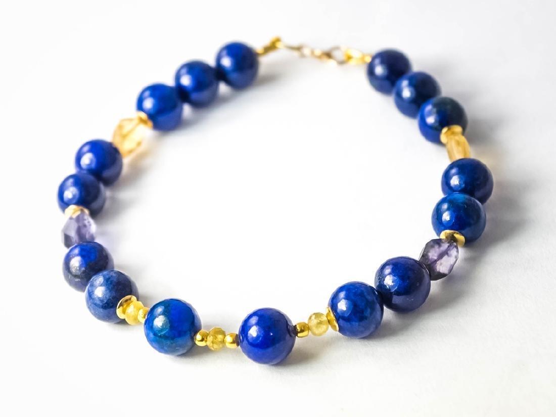 Lapis lazuli bracelet with yellow Songea sapphires - 5