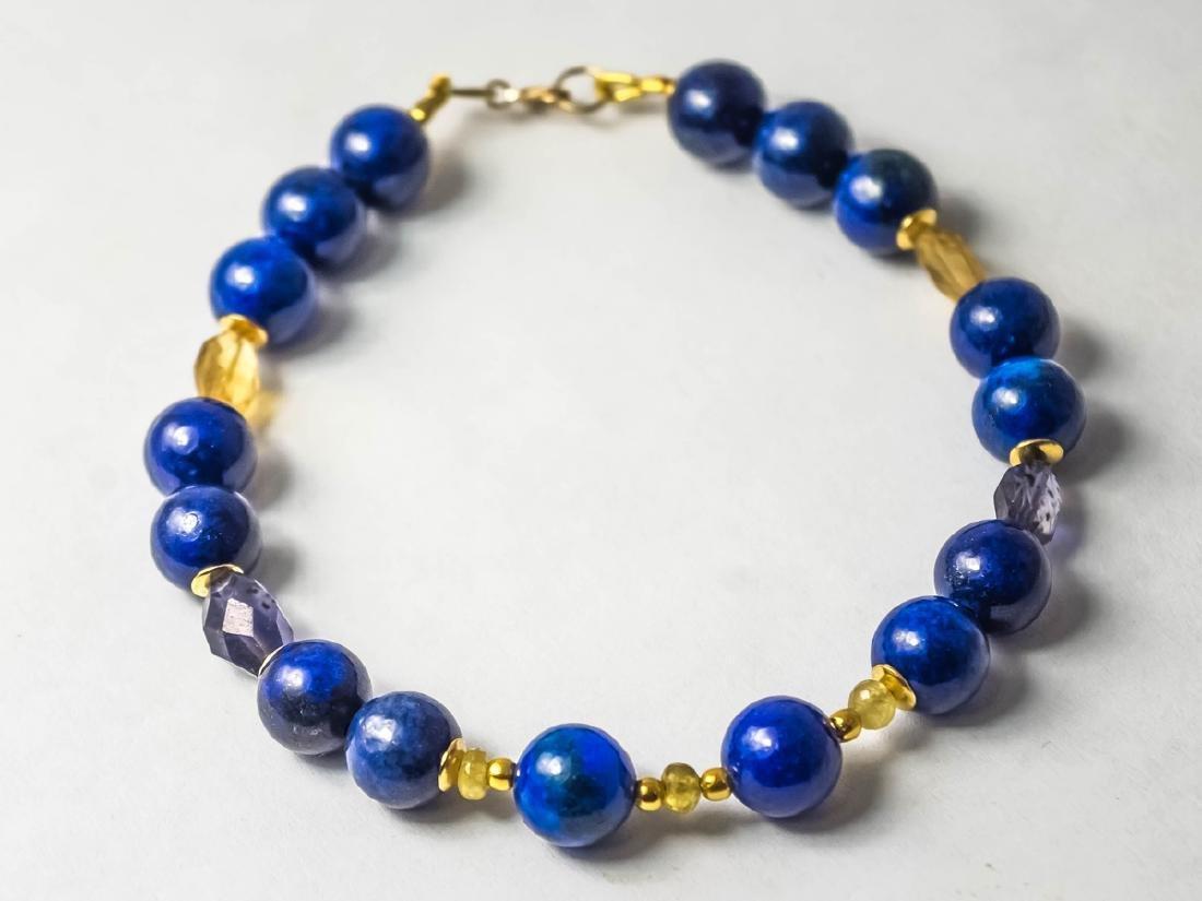 Lapis lazuli bracelet with yellow Songea sapphires - 6