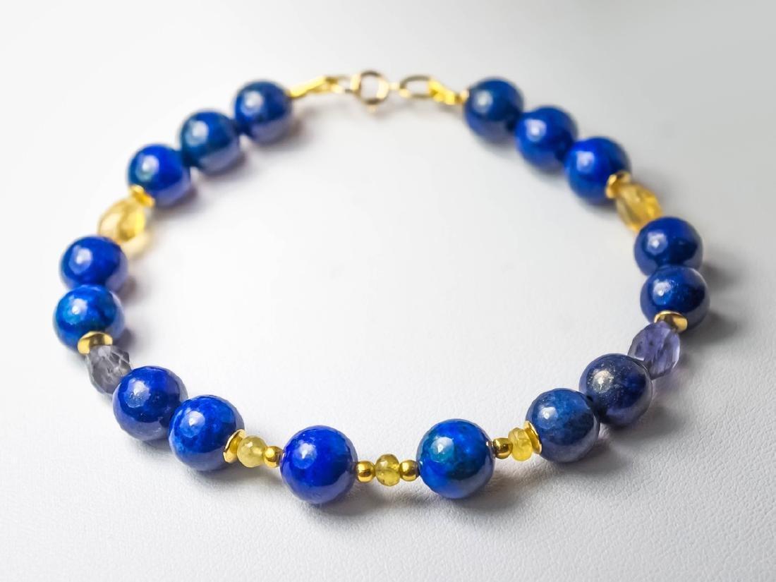 Lapis lazuli bracelet with yellow Songea sapphires - 7