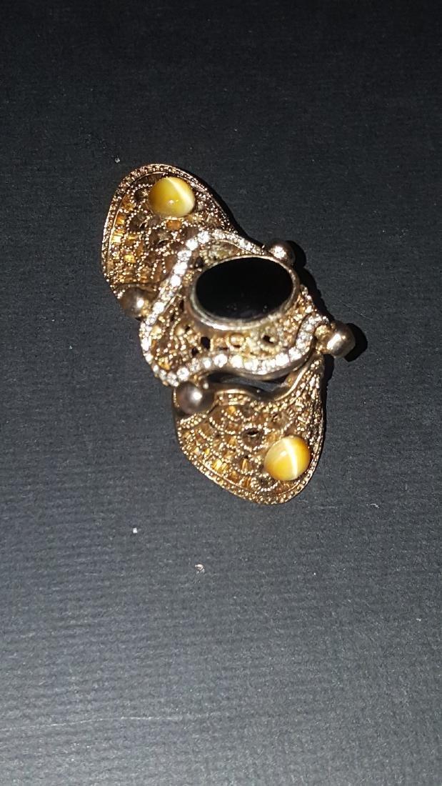 Onyx Tiger Eye  Knuckle Ring