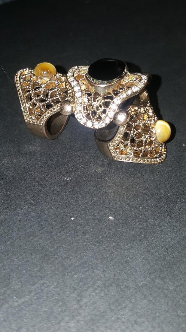 Onyx Tiger Eye  Knuckle Ring - 2