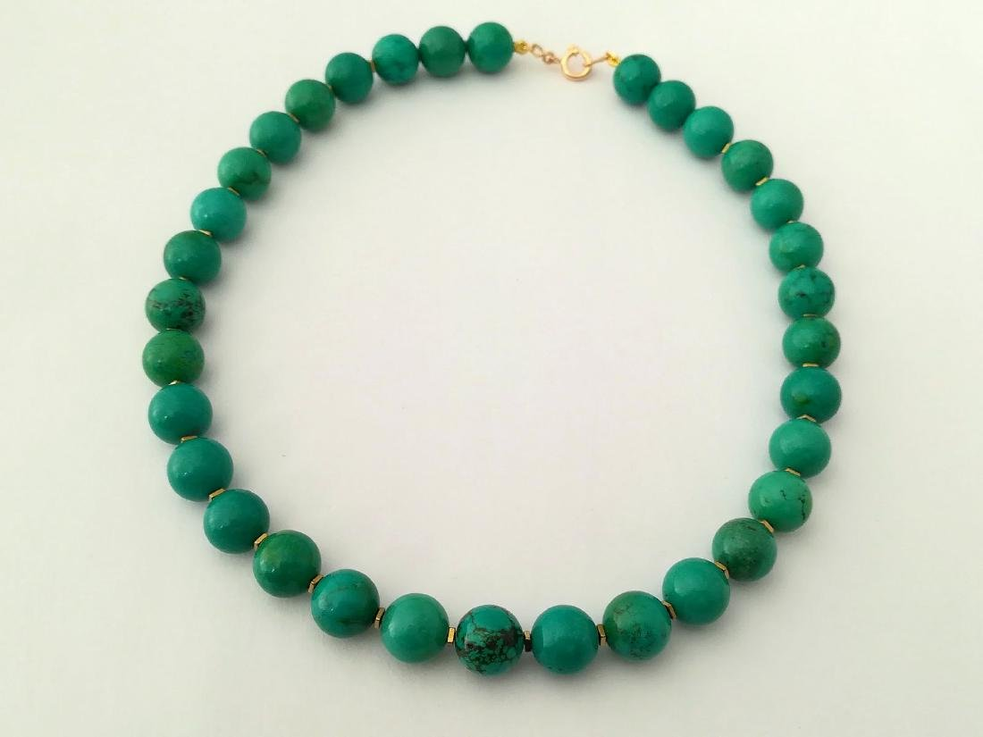 19,2 kt- Turquoise Stone Necklace 12 mm with gold - 2