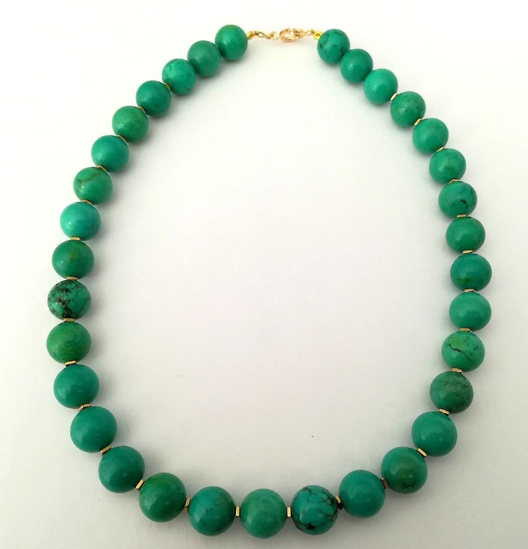 19,2 kt- Turquoise Stone Necklace 12 mm with gold - 6