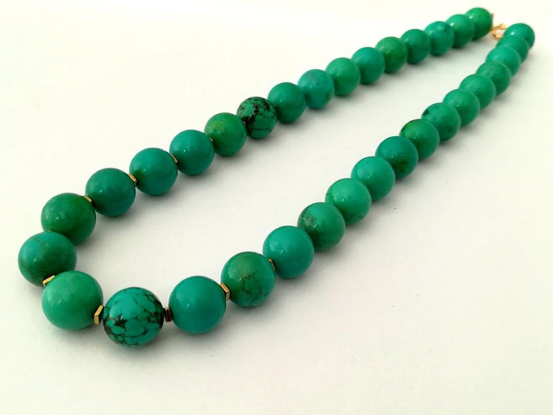 19,2 kt- Turquoise Stone Necklace 12 mm with gold - 7