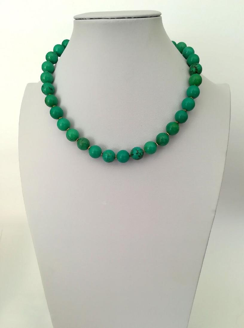 19,2 kt- Turquoise Stone Necklace 12 mm with gold - 8