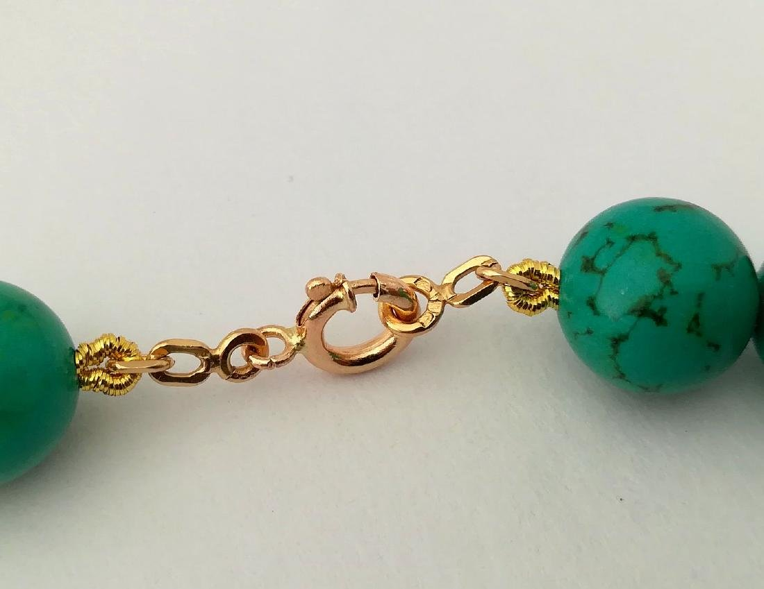 19,2 kt- Turquoise Stone Necklace 12 mm with gold - 9