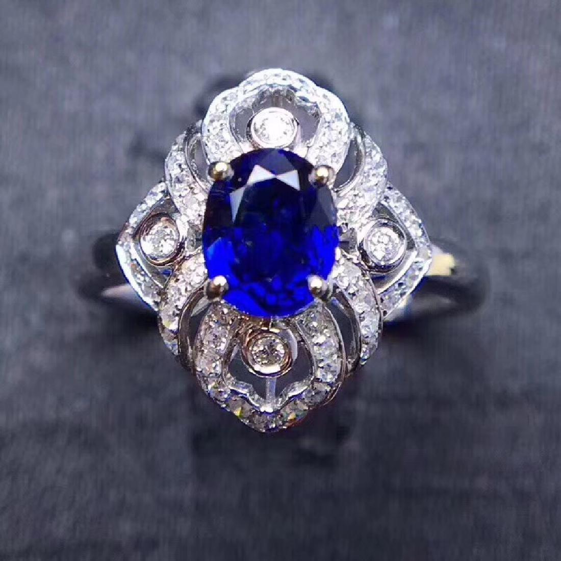 1.18 CTW Sapphire & VS Diamond Ring 18K - 2