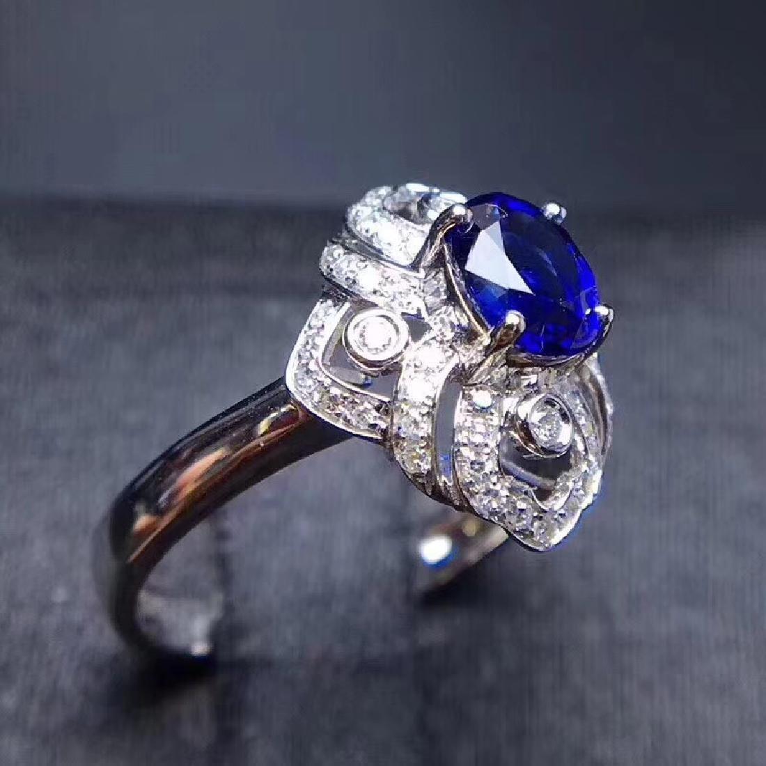 1.18 CTW Sapphire & VS Diamond Ring 18K - 4