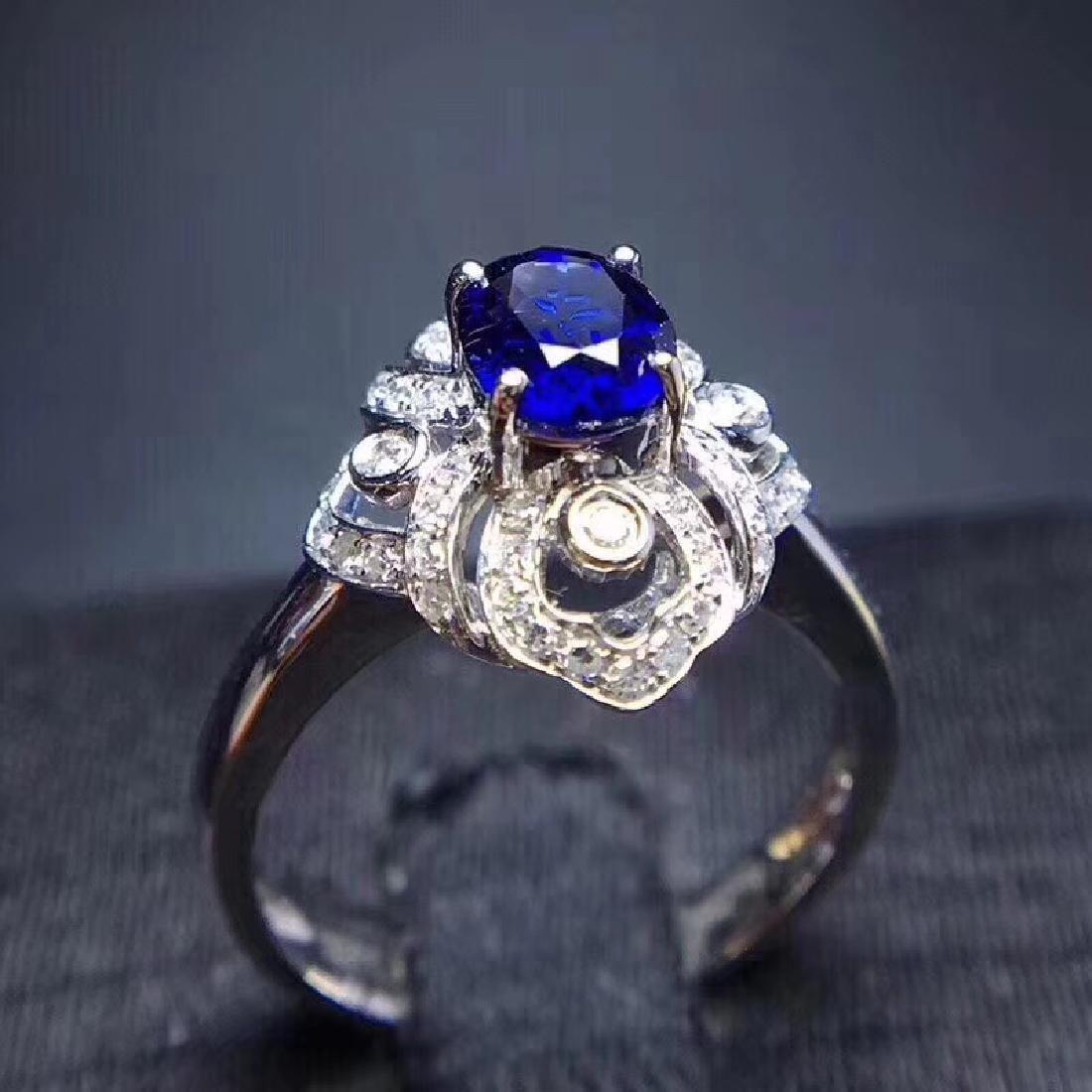 1.18 CTW Sapphire & VS Diamond Ring 18K - 5