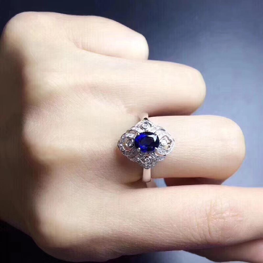 1.18 CTW Sapphire & VS Diamond Ring 18K - 6
