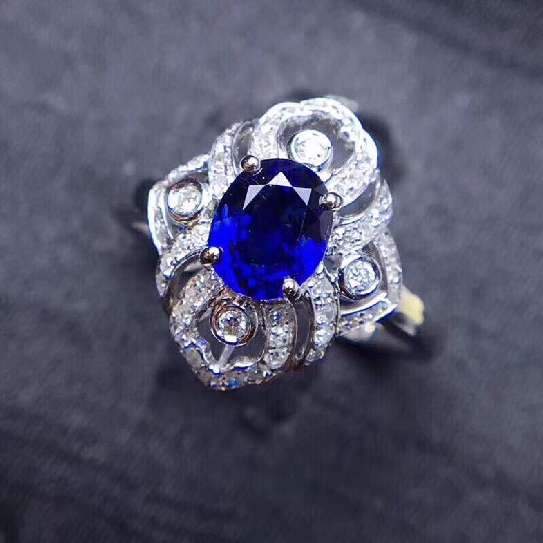1.18 CTW Sapphire & VS Diamond Ring 18K - 8