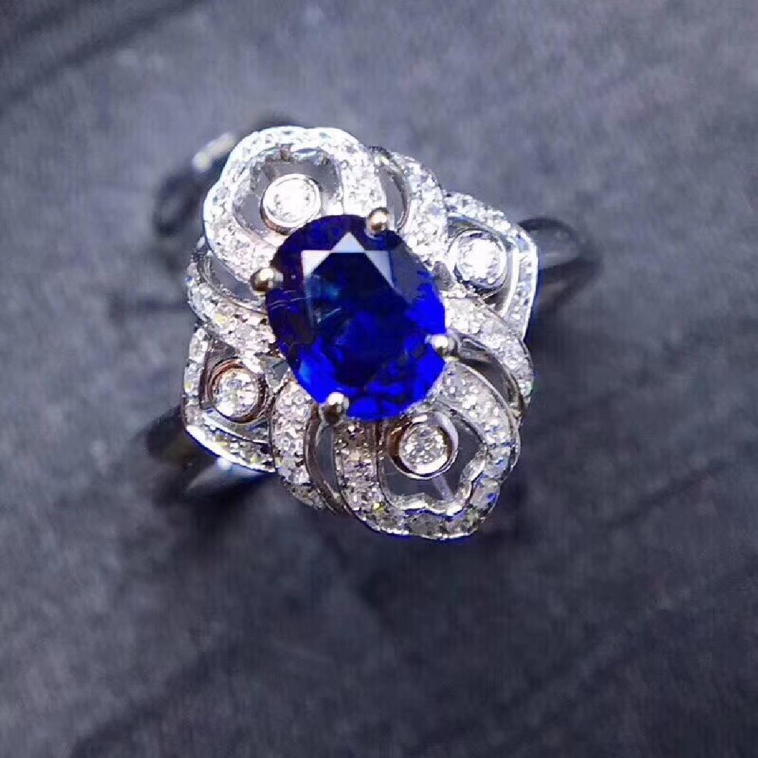 1.18 CTW Sapphire & VS Diamond Ring 18K - 9