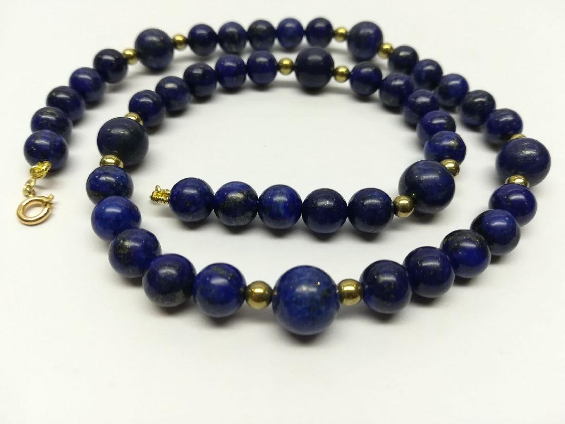 Lapiz Lazuli Necklace with gold hoop clasp Stones