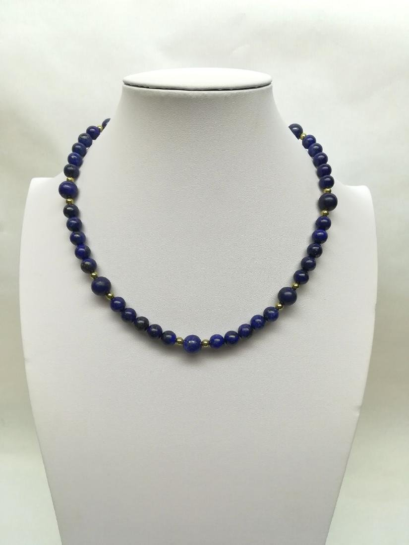 Lapiz Lazuli Necklace with gold hoop clasp Stones - 2