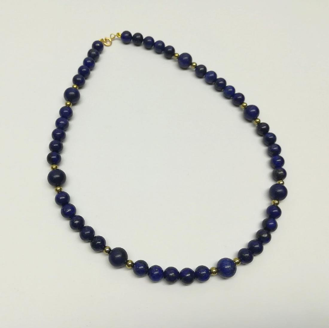 Lapiz Lazuli Necklace with gold hoop clasp Stones - 3