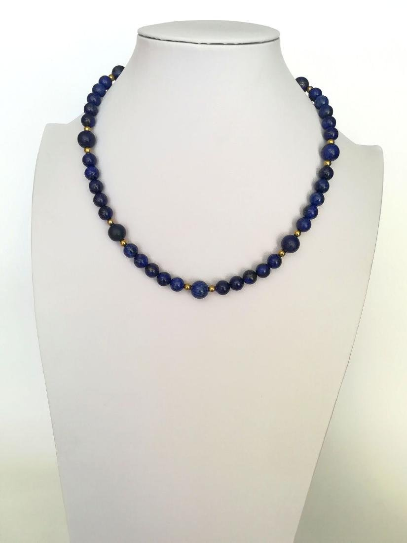 Lapiz Lazuli Necklace with gold hoop clasp Stones - 6