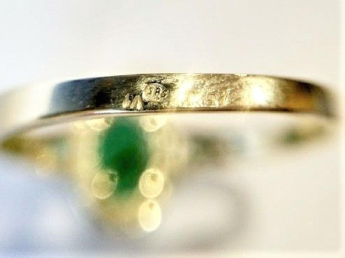 New Emerald Ring with 12 Diamonds 14k Gold Made in - 2