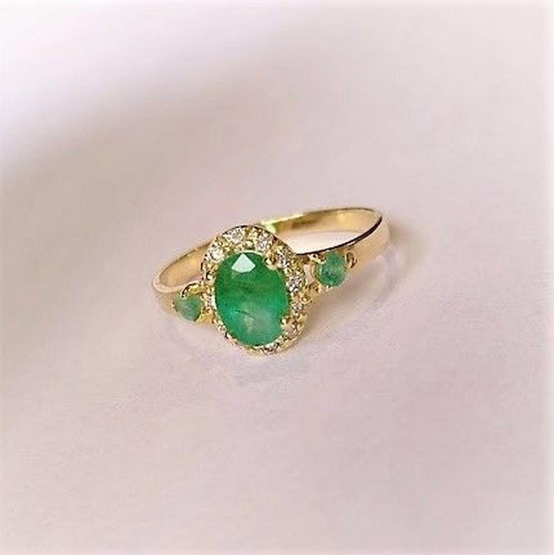 New Emerald Ring with 12 Diamonds 14k Gold Made in - 3