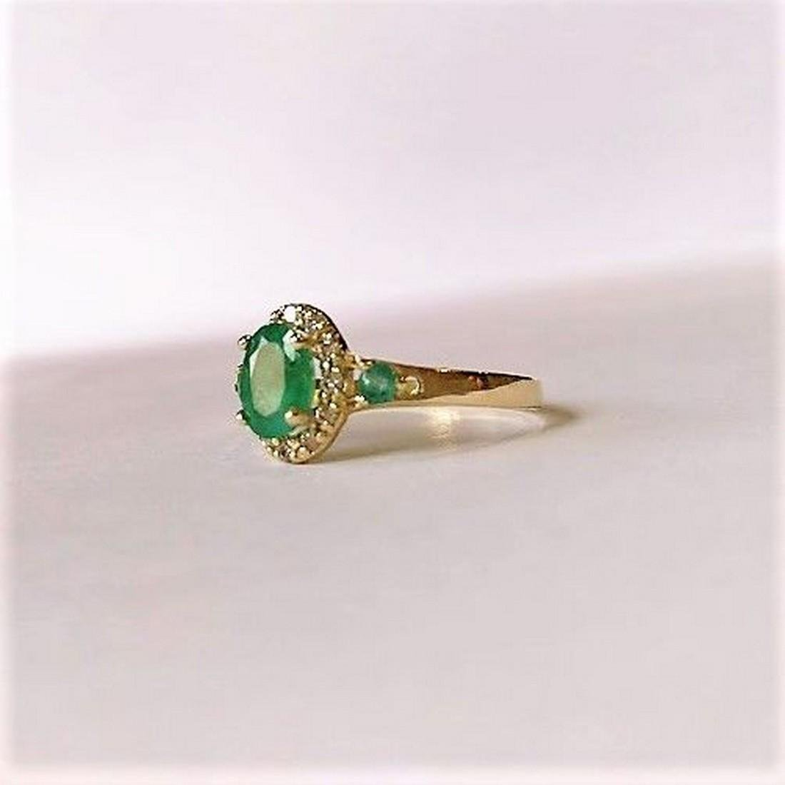 New Emerald Ring with 12 Diamonds 14k Gold Made in - 4