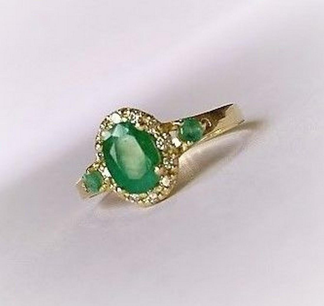 New Emerald Ring with 12 Diamonds 14k Gold Made in - 5