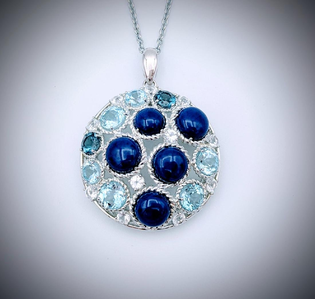 Sterling Silver Necklace and Pendant with Lapis Lazuli,
