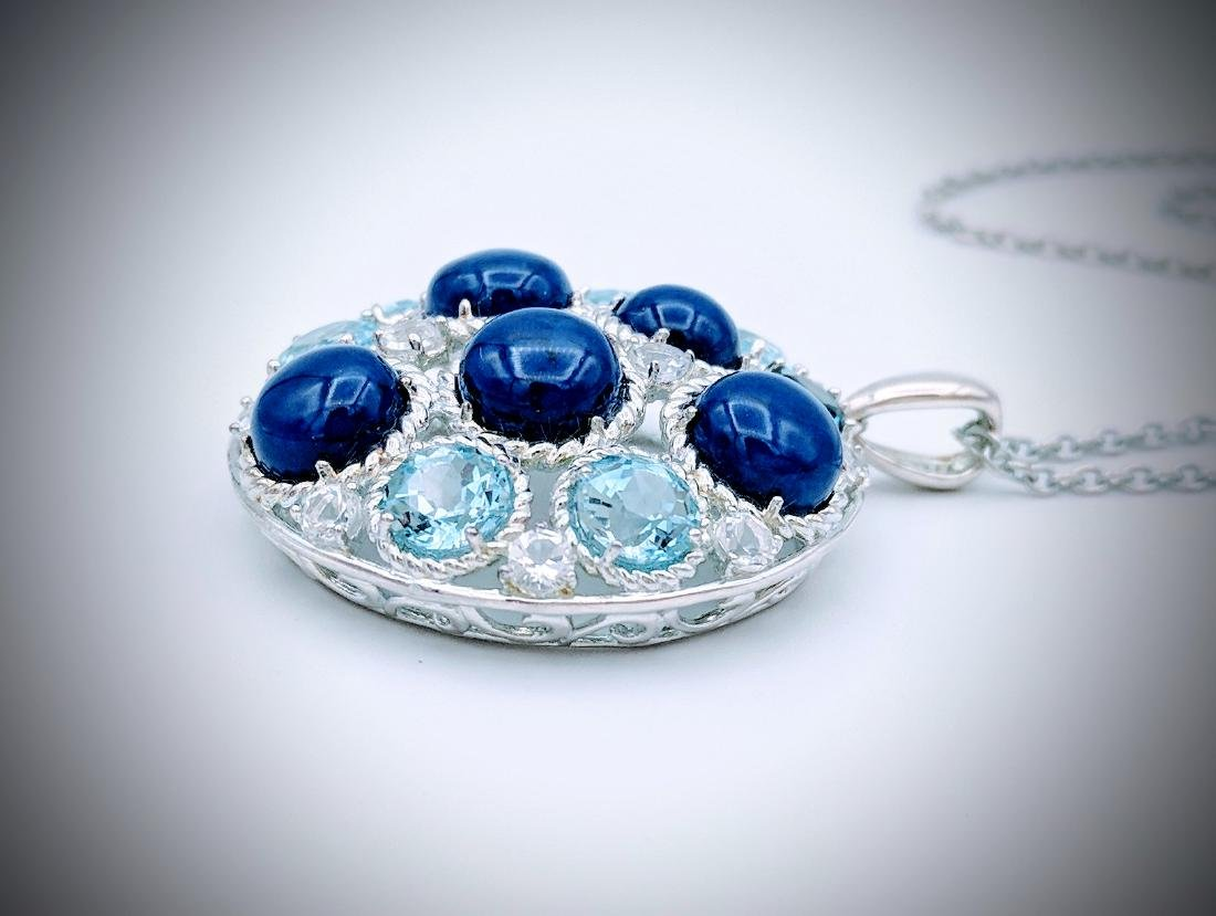 Sterling Silver Necklace and Pendant with Lapis Lazuli, - 4