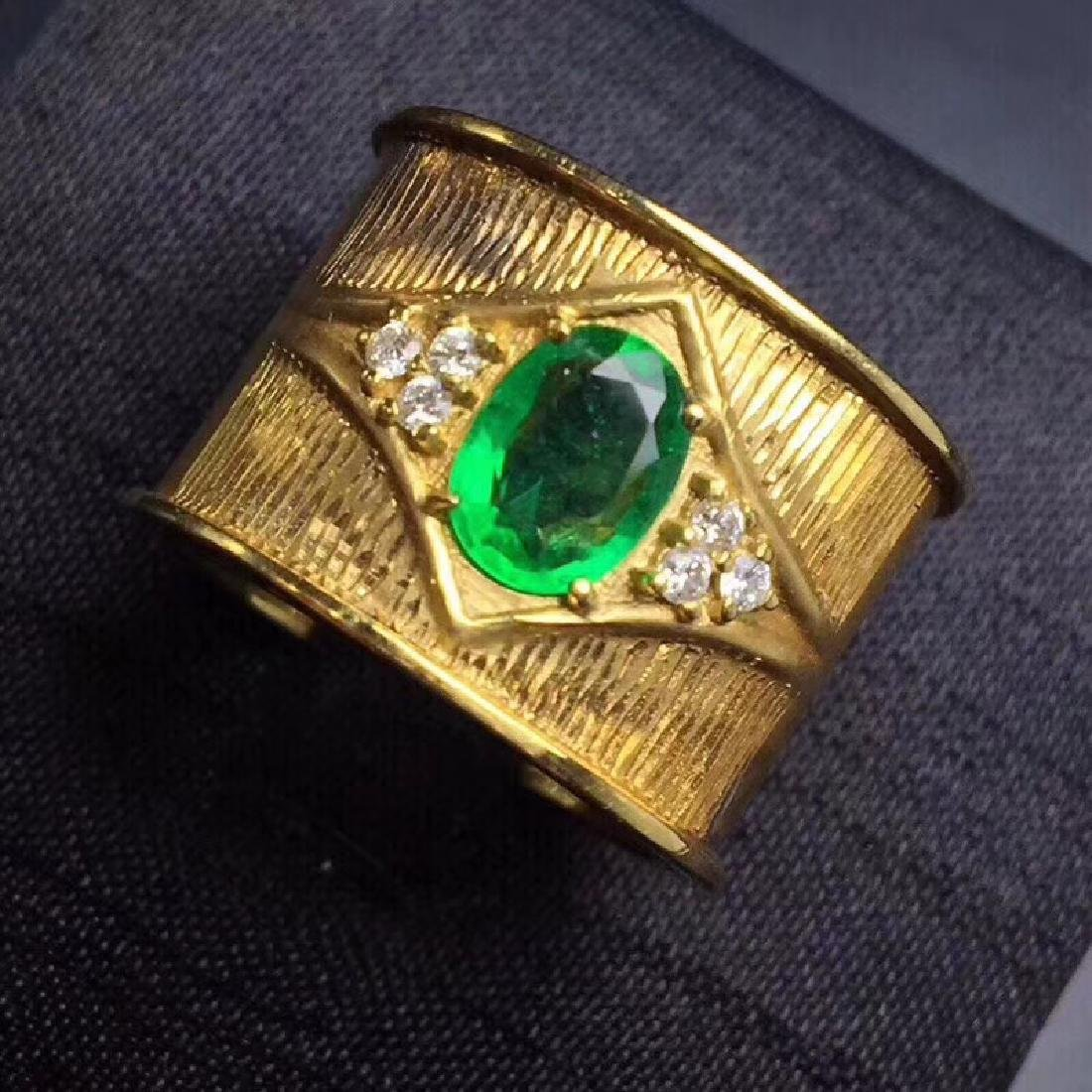 0.9 CTW Emerald & VS Diamond Ring 18K - 2