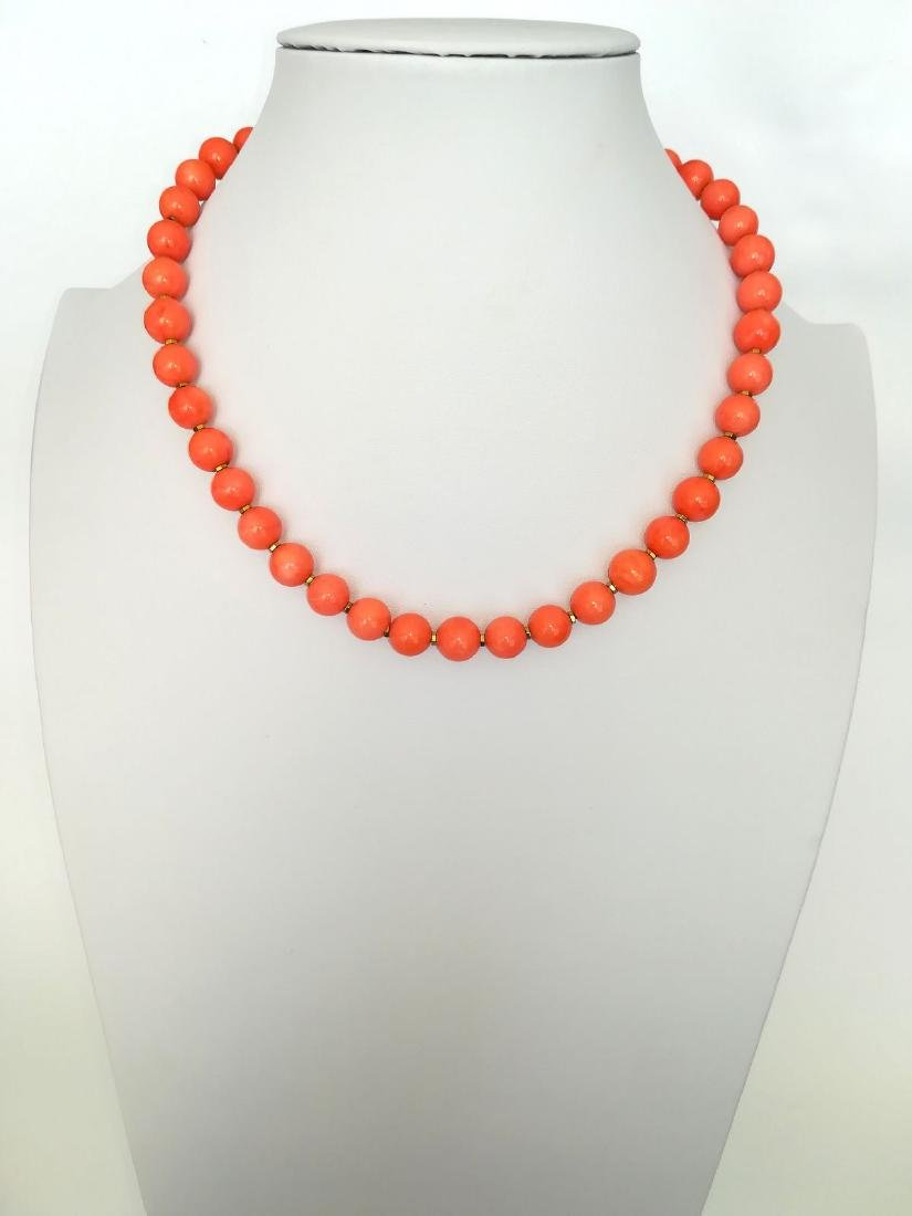 Coral necklace of the Mediterranean with gold clasp - 2