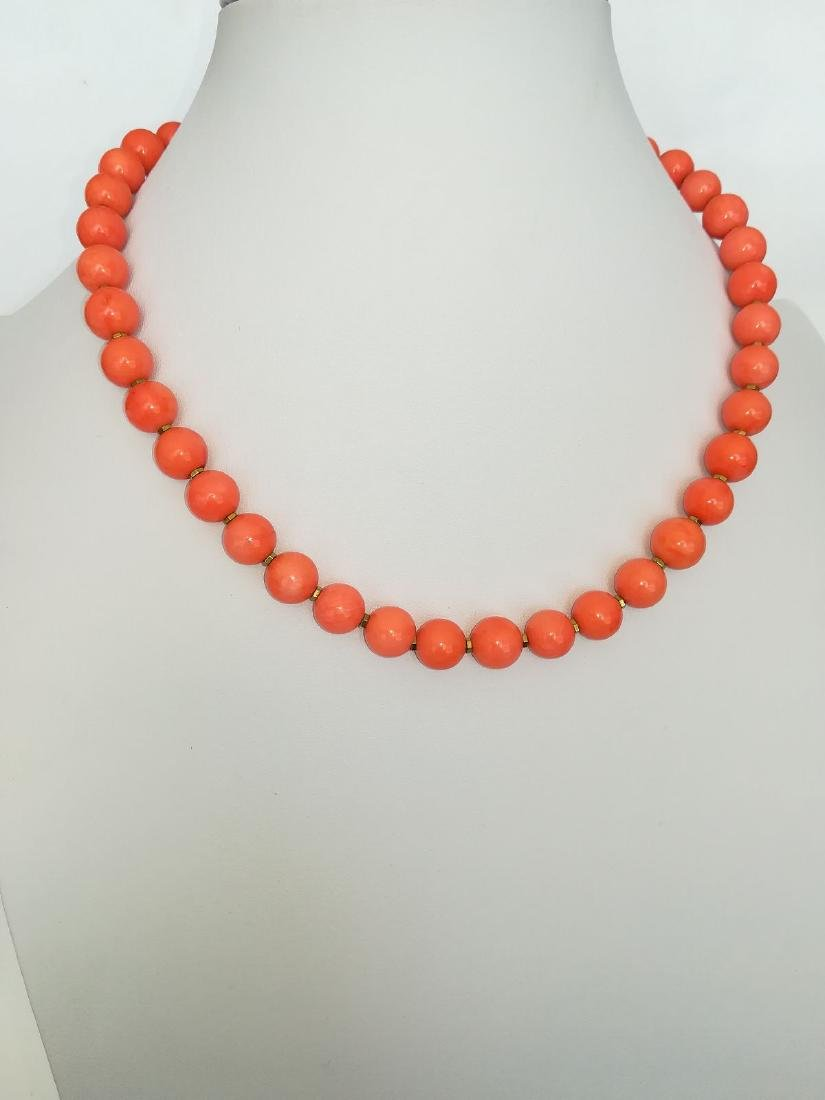 Coral necklace of the Mediterranean with gold clasp - 3