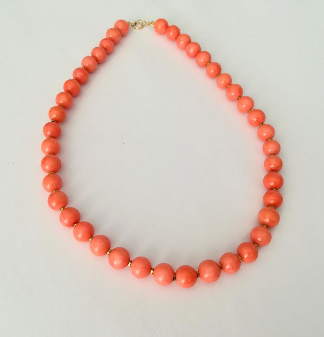 Coral necklace of the Mediterranean with gold clasp - 4