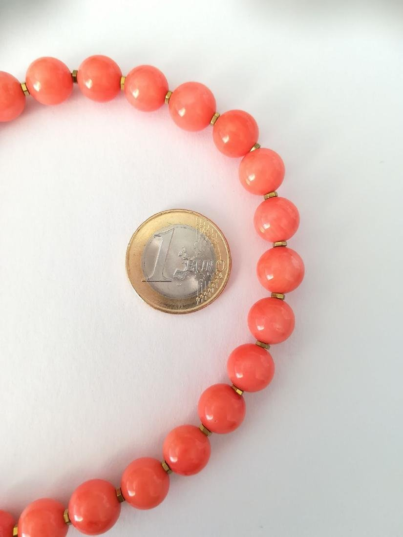 Coral necklace of the Mediterranean with gold clasp - 5
