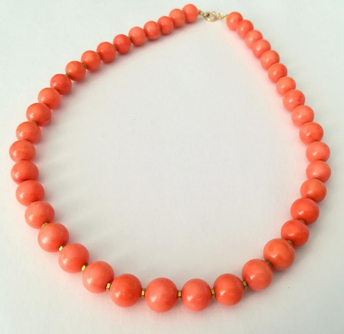 Coral necklace of the Mediterranean with gold clasp - 8