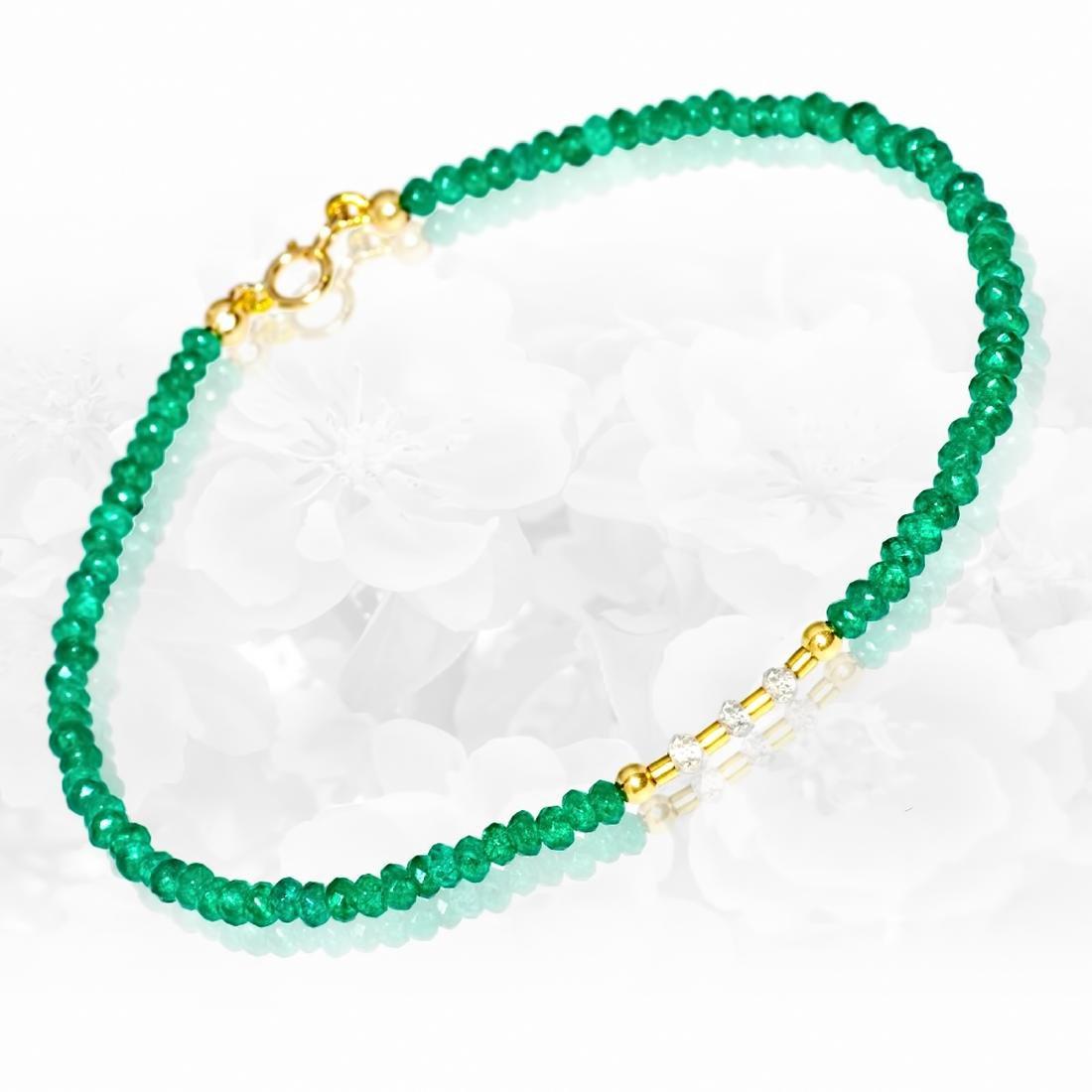 14K Retro Style Precious Jadeite Jade bracelet with - 4