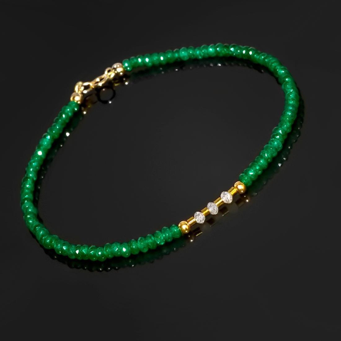 14K Retro Style Precious Jadeite Jade bracelet with - 5