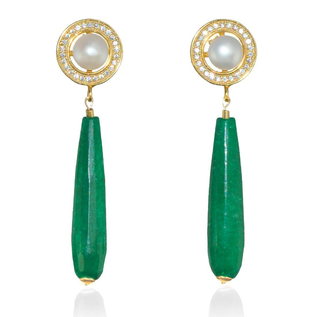 Imperial Jade & Pearl Earrings