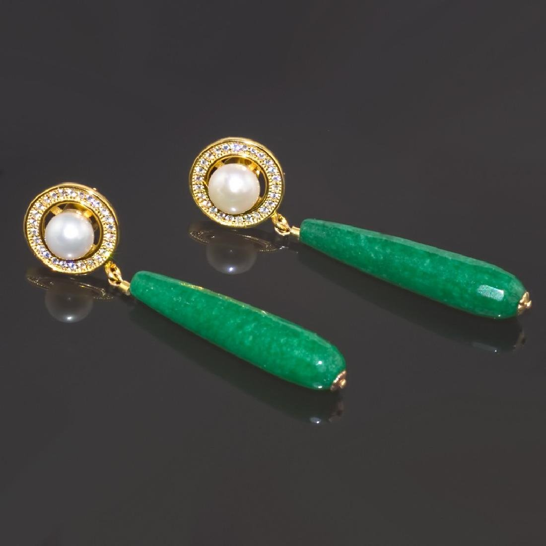 Imperial Jade & Pearl Earrings - 2