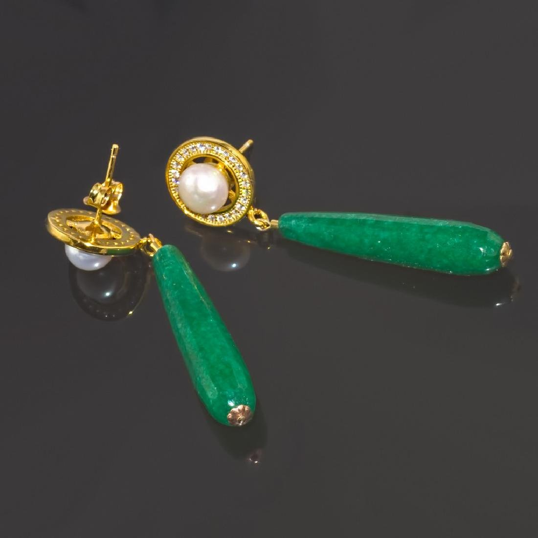 Imperial Jade & Pearl Earrings - 3
