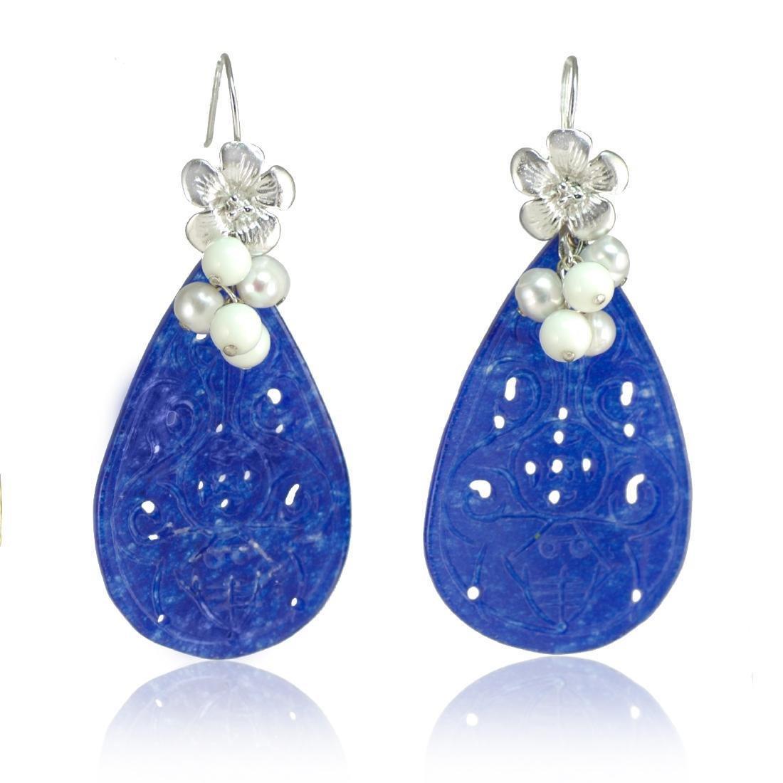 Blue Transparent Jade Earrings