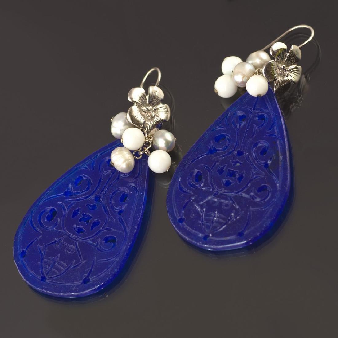Blue Transparent Jade Earrings - 2