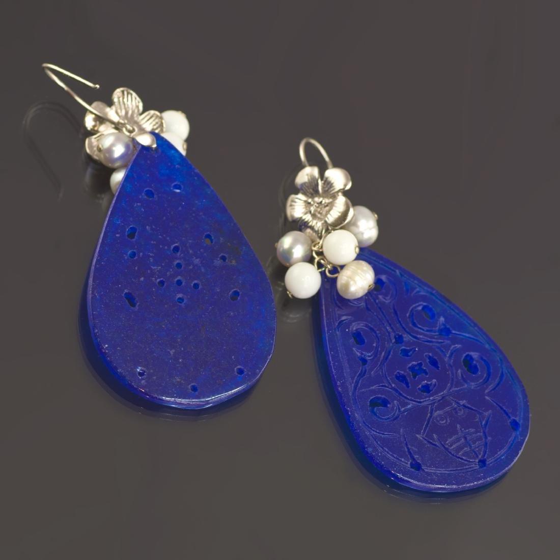 Blue Transparent Jade Earrings - 3