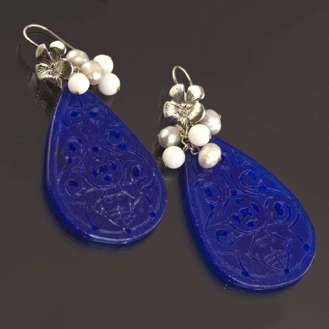 Blue Transparent Jade Earrings - 4