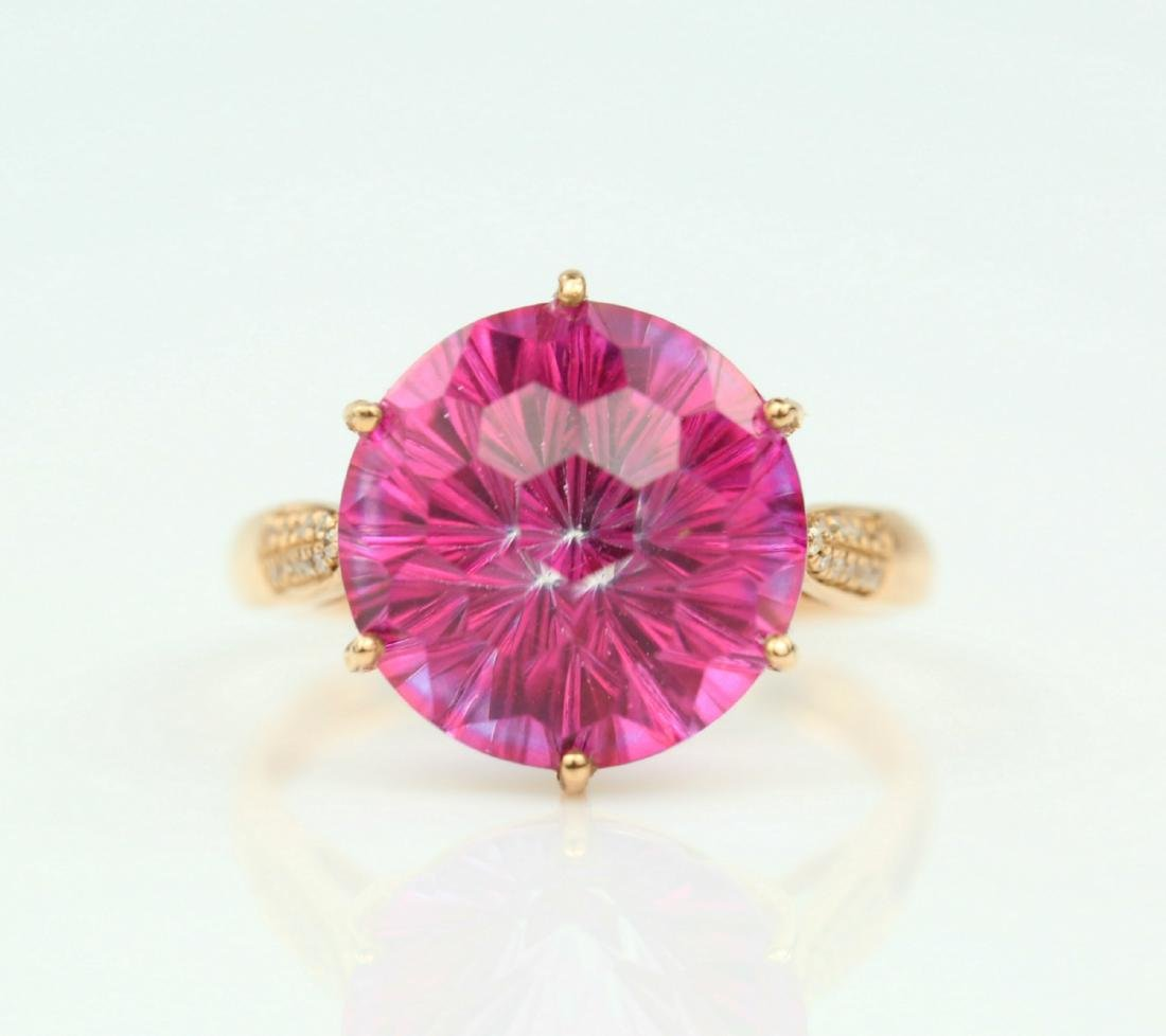 Certified-Pink Topaz ring with 18K rose ring