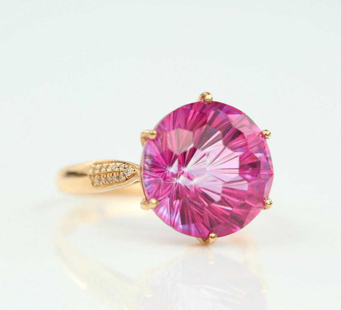 Certified-Pink Topaz ring with 18K rose ring - 2