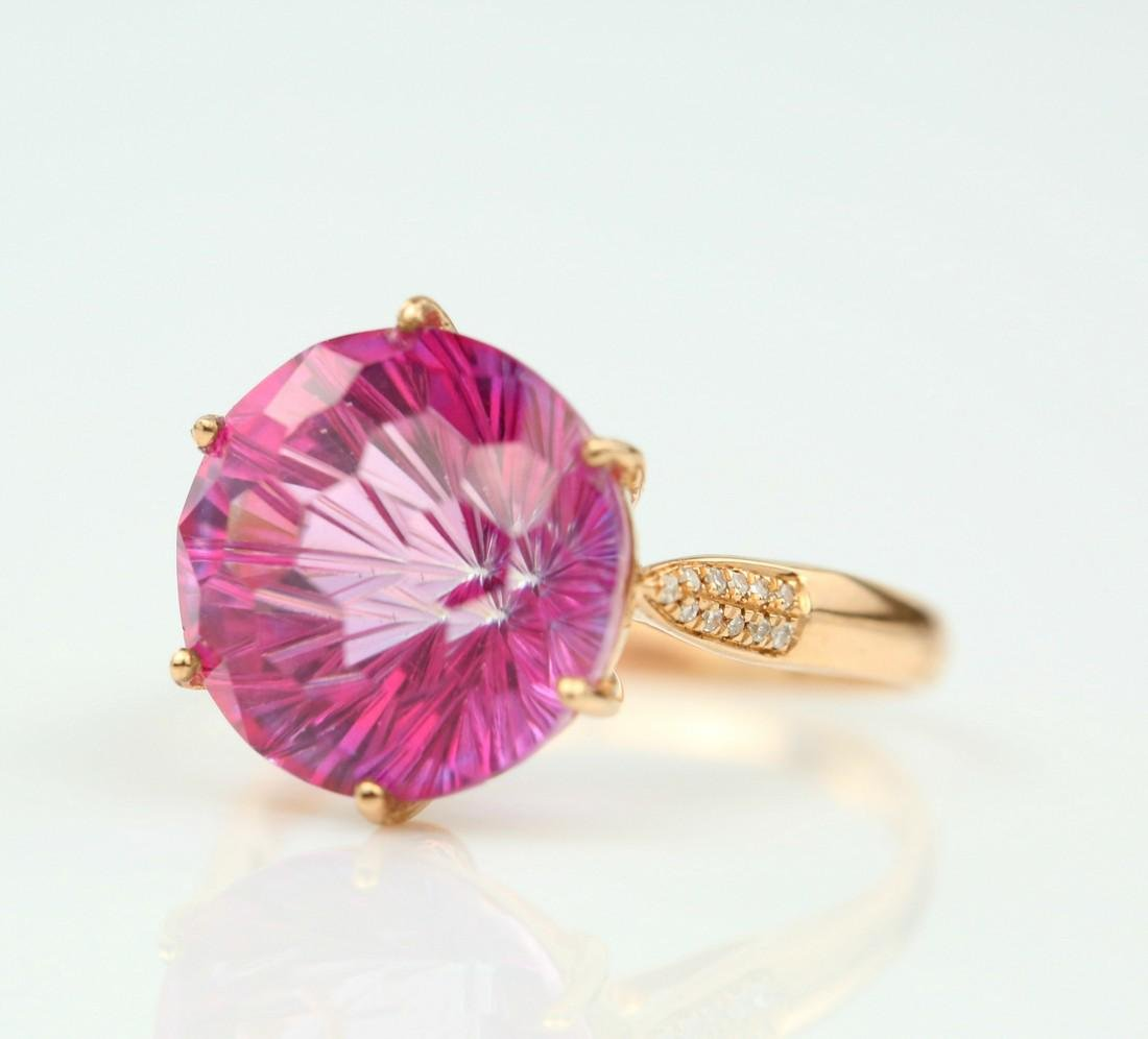 Certified-Pink Topaz ring with 18K rose ring - 3