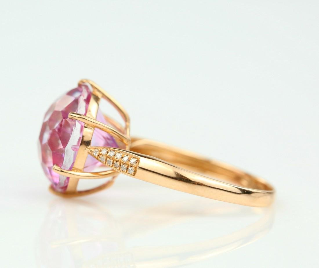 Certified-Pink Topaz ring with 18K rose ring - 4